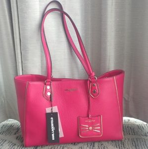 NEW Leather Karl Lagerfeld Tote Purse Hot Pink!!!